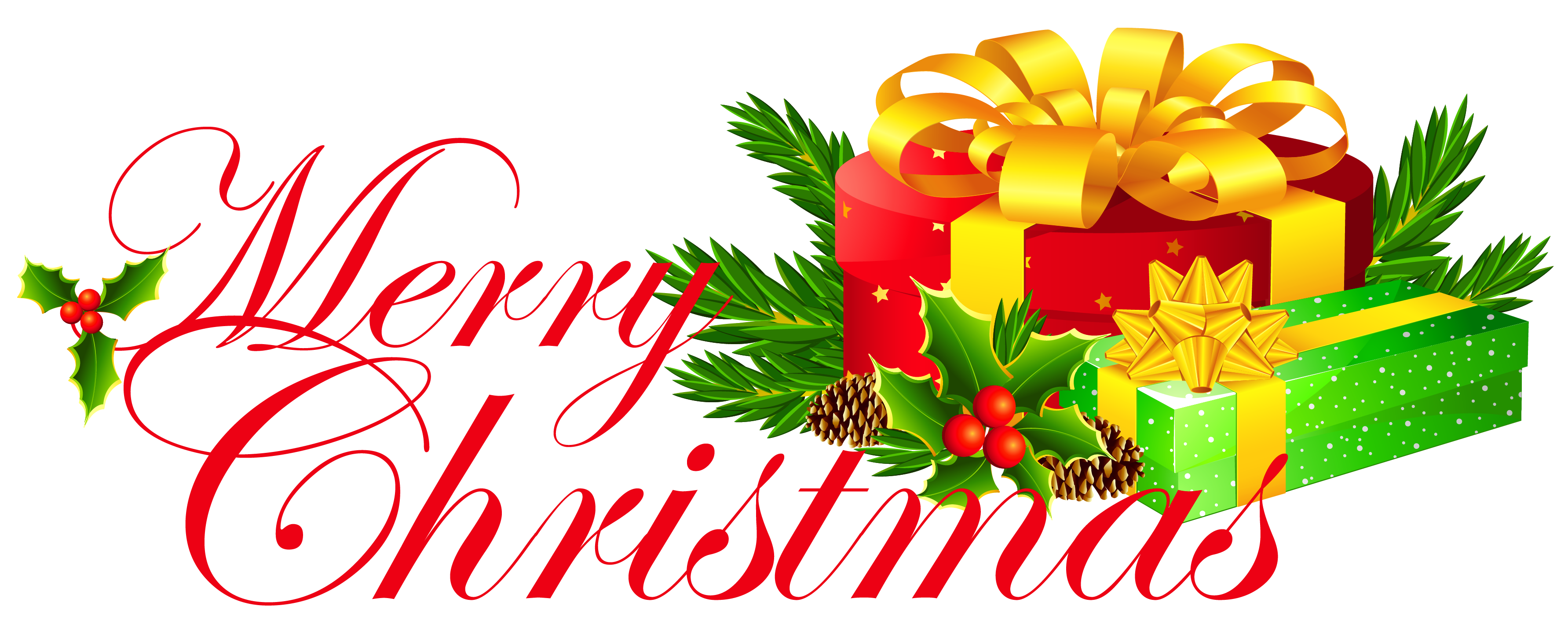 3565x1427 Transparent Merry Christmas With Presents Png Clipartu200b Gallery