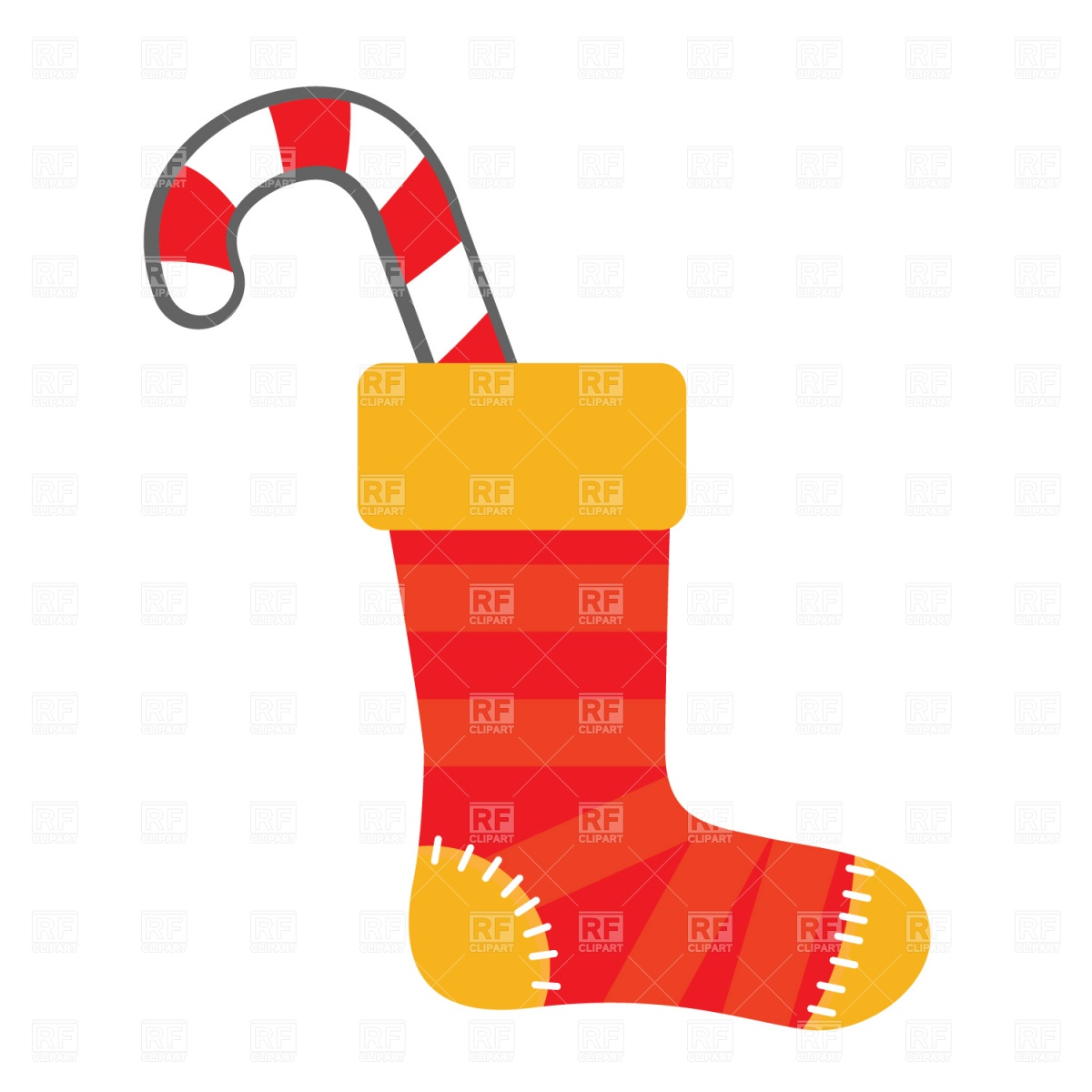 1200x1200 Christmas Festive Stocking And Candy Cane Royalty Free Vector Clip