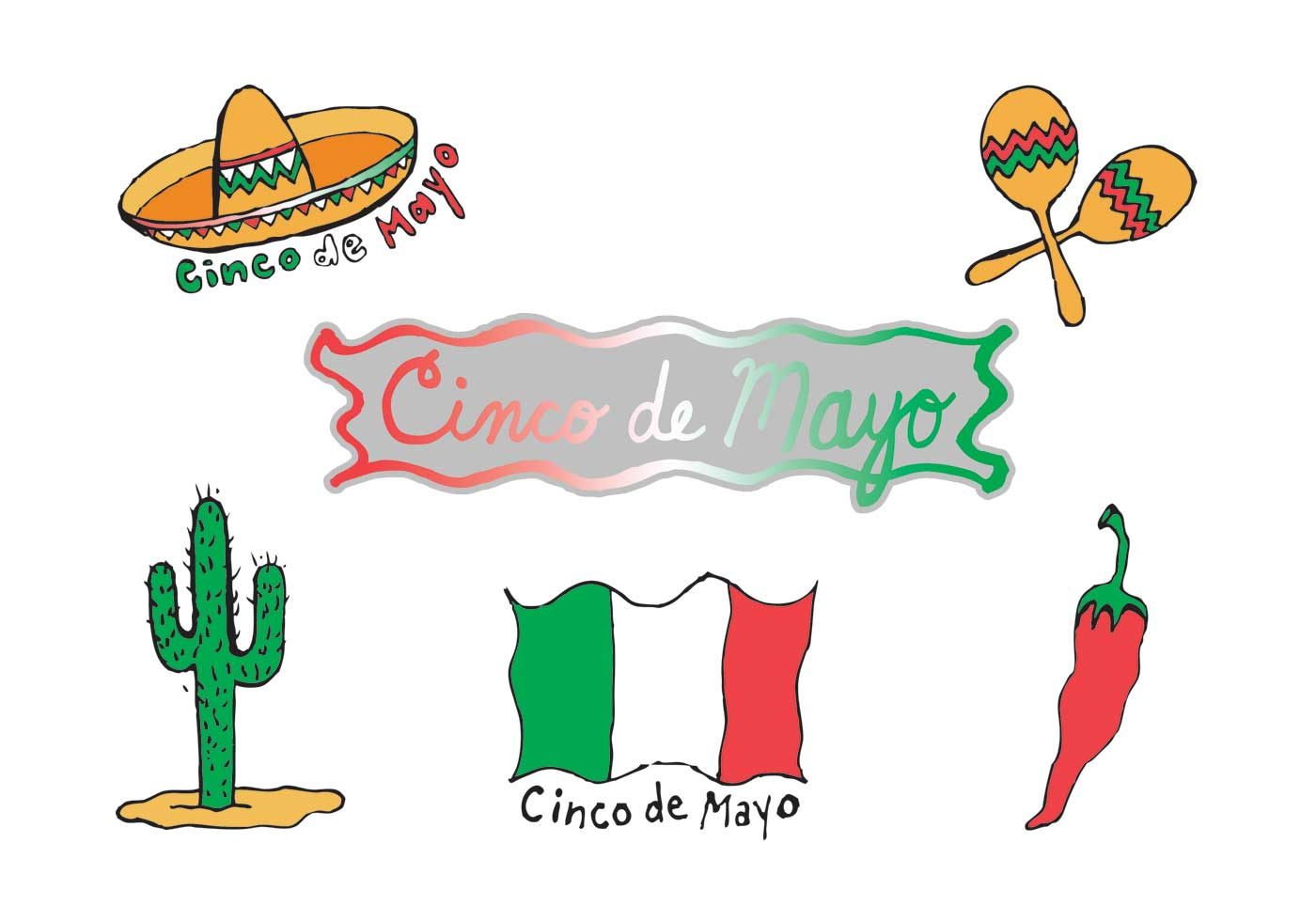 1400x980 Cinco De Mayo Vectors