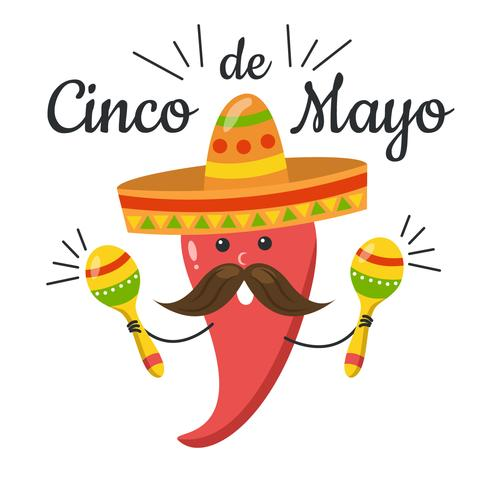 490x490 Cute Red Jalapeno With Maracas To Cinco De Mayo Day