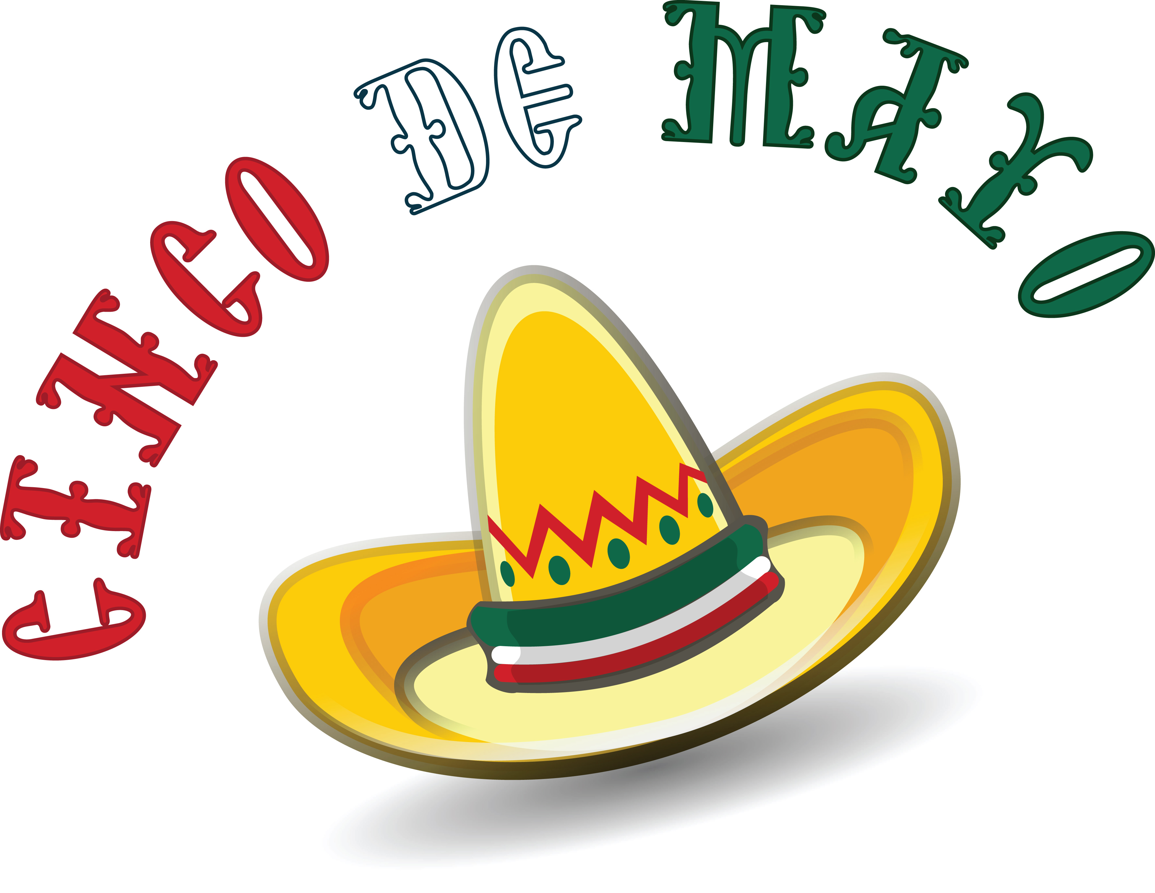 4000x3094 Free Clipart Of A Mexican Sombrero With Cinco De Mayo Text