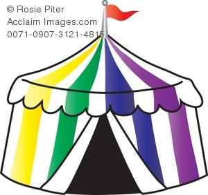 300x282 Colorful Circus Tent With Flag Royalty Free Clip Art Image