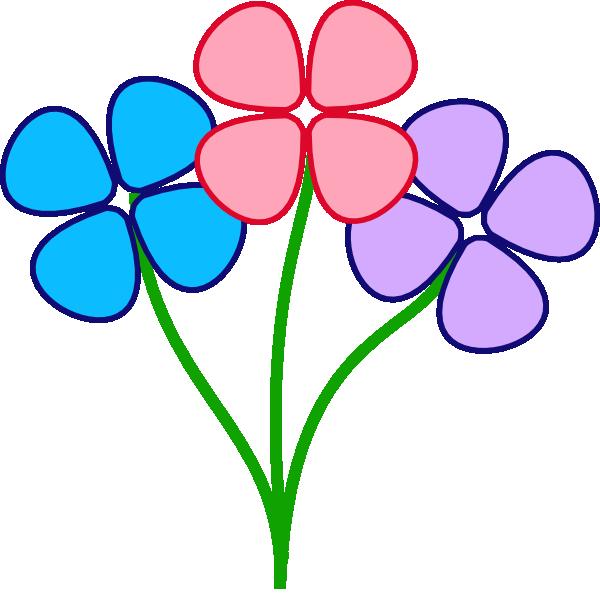 600x594 Three Pretty Flowers Clip Art