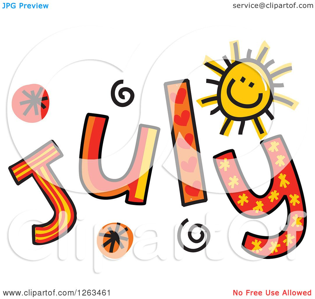 1080x1024 Clipart Of Colorful Sketched Month Of July Text