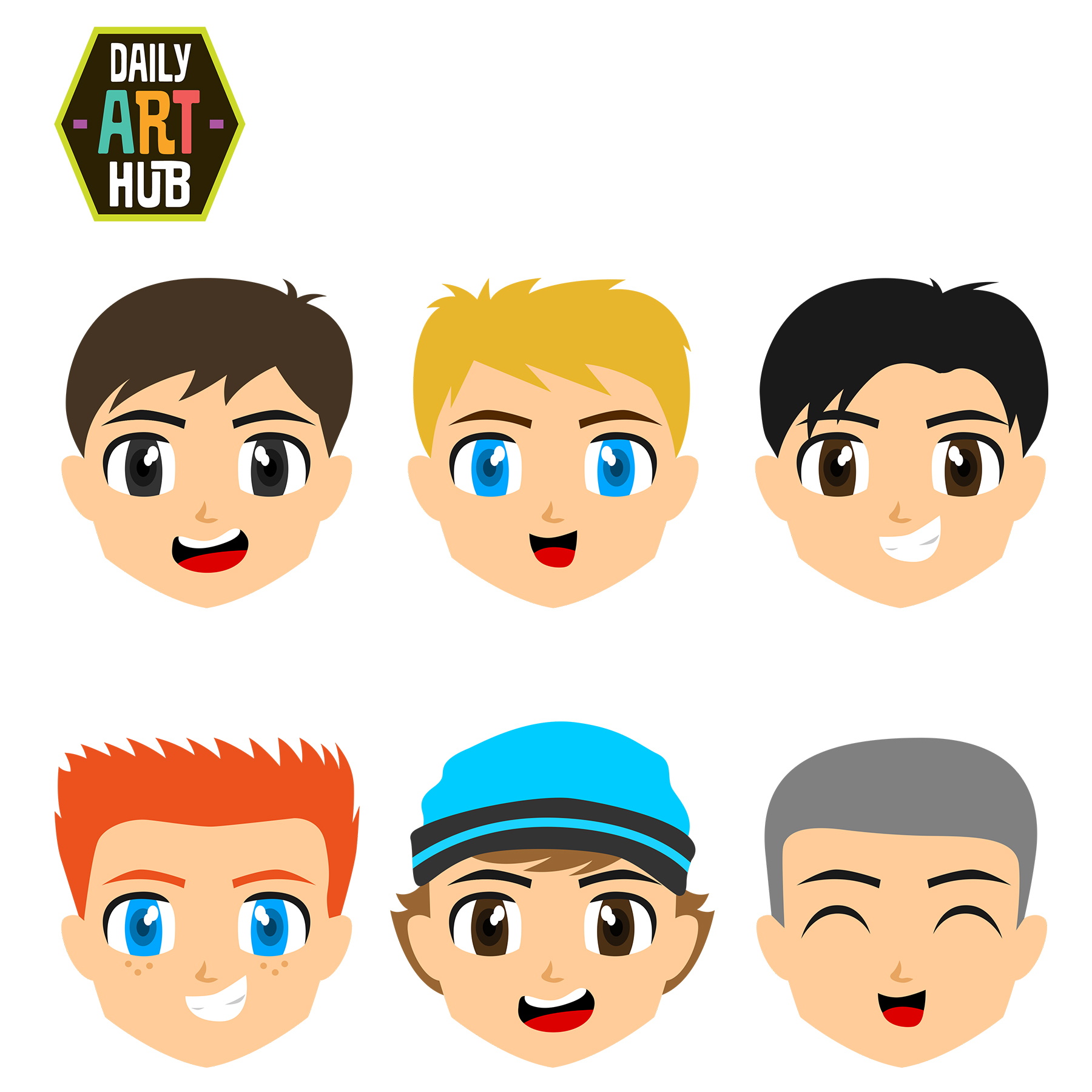 1800x1800 Cute Boys Faces Clip Art Set – Daily Art Hub – Free Clip Art Everyday