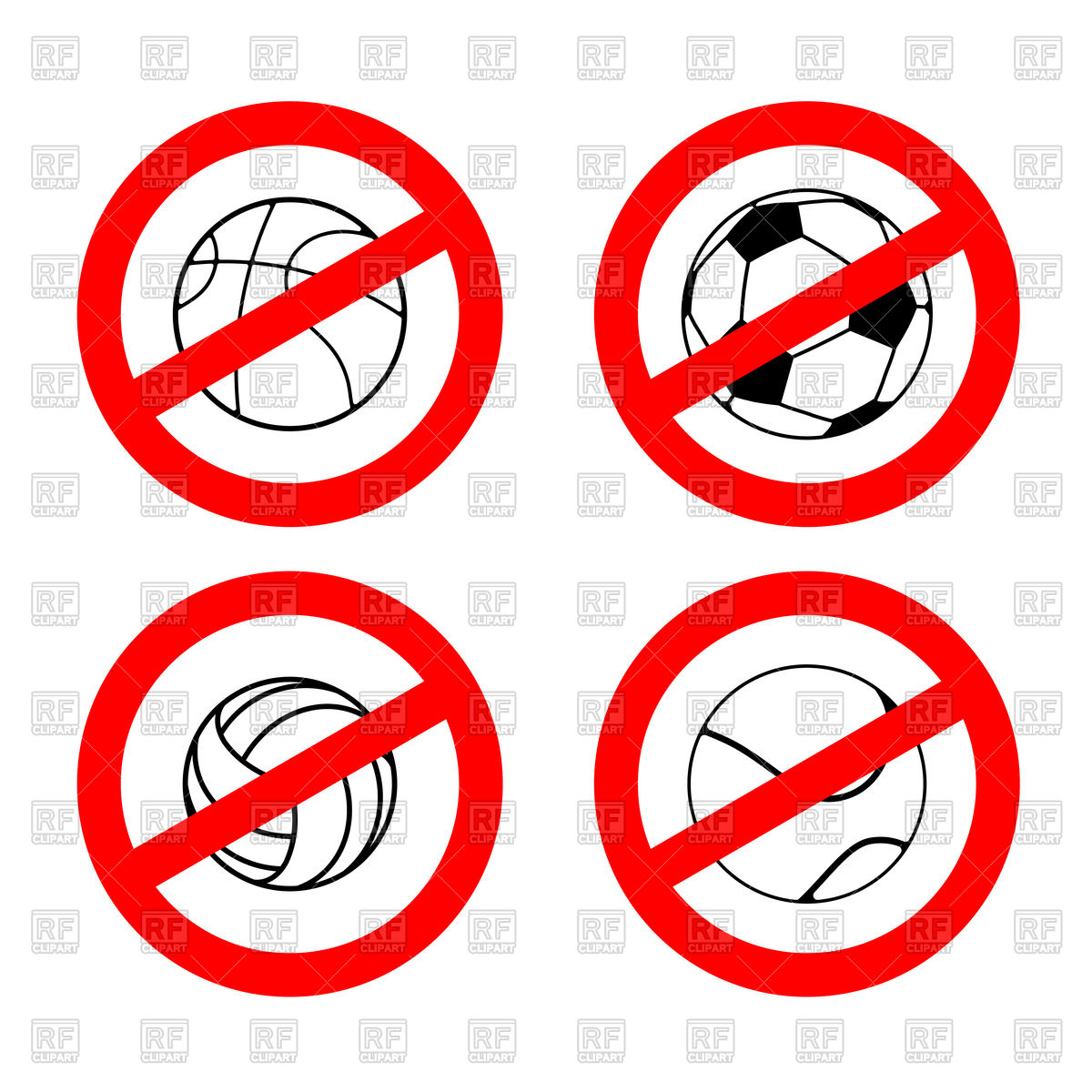 1200x1200 Set Of Stop Sign With Volleyball, Football, Tennis And Rugby Balls