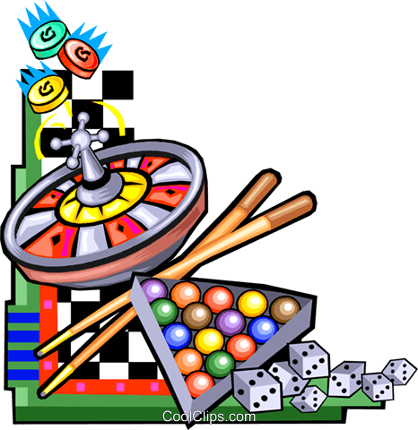 466x480 Various Games Of Chance Royalty Free Vector Clip Art Illustration