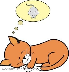 286x300 Clip Art Of A Sleeping Kitten Dreaming Of A Mouse