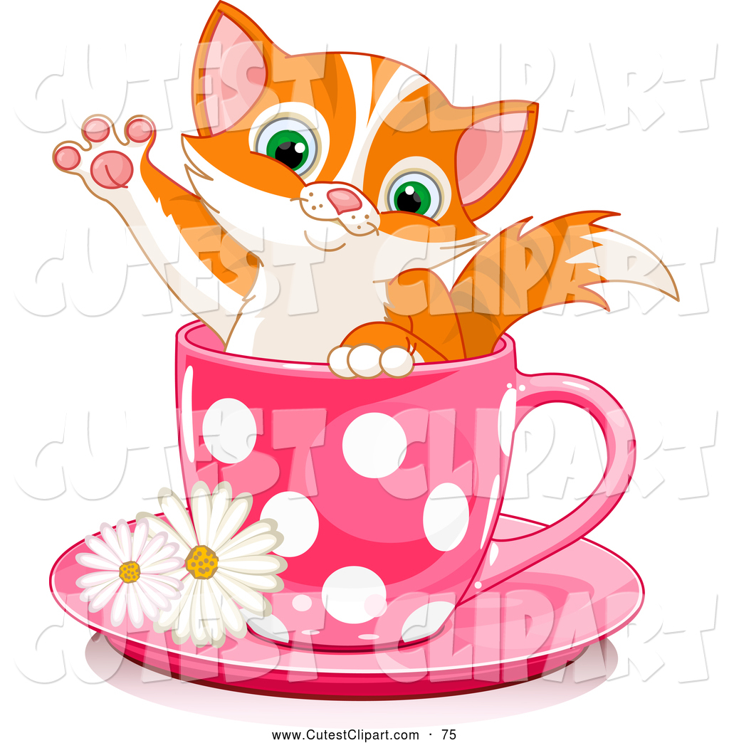 1024x1044 Vector Clip Art Of A Cute Adorable Orange Kitten In A Pink Polka