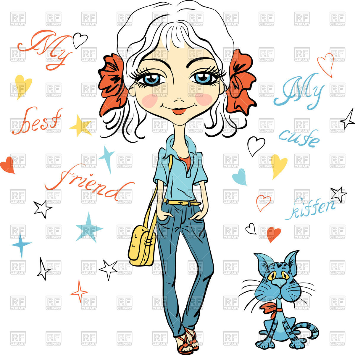 1200x1200 Cartoon Pretty Fashion Girl With Bows, Bag And With Cute Kitten