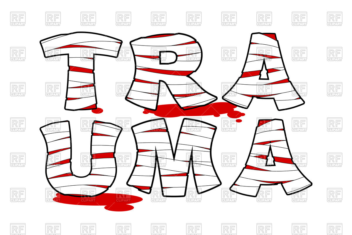 1200x800 Trauma. Bloody Letters Wrapped Medical Bandages. Royalty Free