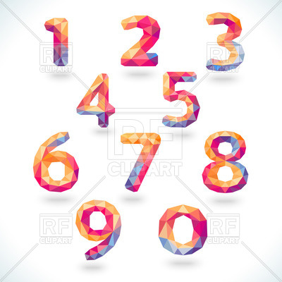 400x400 Numbers (Digits) In Modern Polygonal Crystal Style Royalty Free