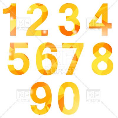 400x400 Orange Polygonal Numbers Royalty Free Vector Clip Art Image