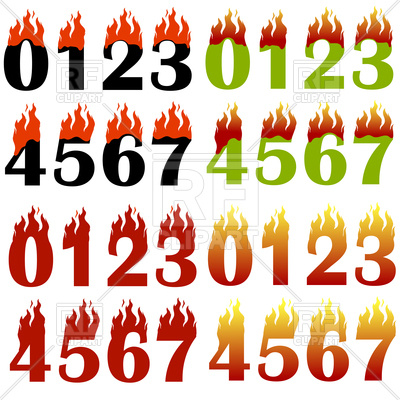 400x400 Burning Numbers On White Background Royalty Free Vector Clip Art