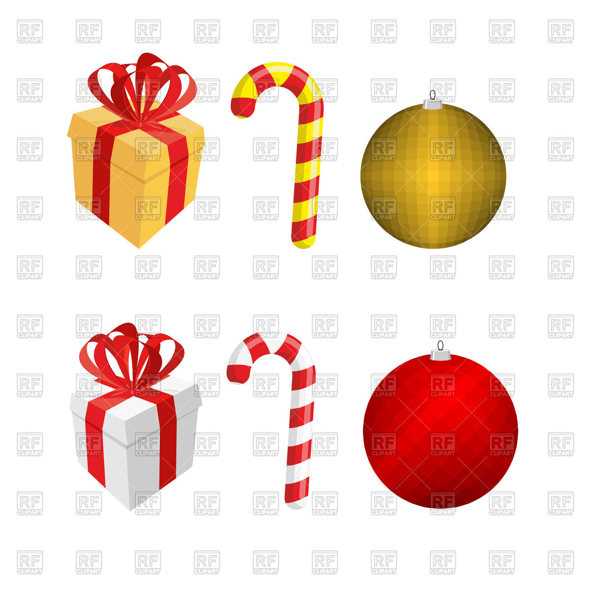 1200x1200 Set Of Christmas Elements Gift Box, Candy Cane And Christmas Ball