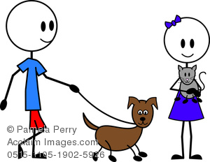 300x232 Clip Art Image Of A Female And Male Stick Figures Walking A Dog