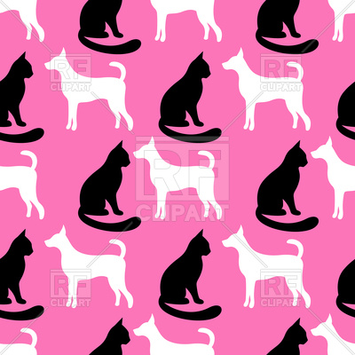 400x400 Animal Seamless Pattern Of Cat And Dog Silhouettes Royalty Free
