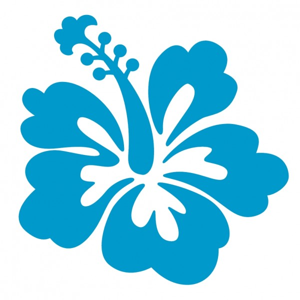 600x600 Blue Hawaiian Flowers Clip Art