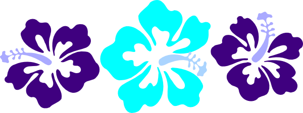 600x224 Blue Hawaiian Flowers Clip Art