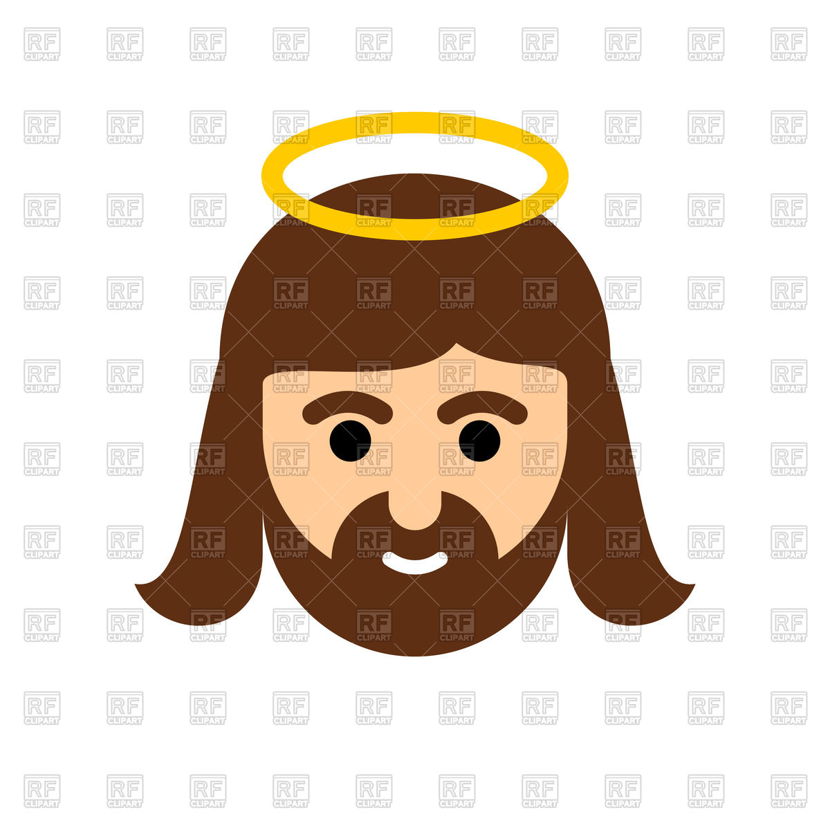 1200x1200 Jesus Icon, Christ, Holy Man With Nimbus Royalty Free Vector Clip