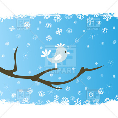 400x400 Bird Sits On Winter Tree Royalty Free Vector Clip Art Image