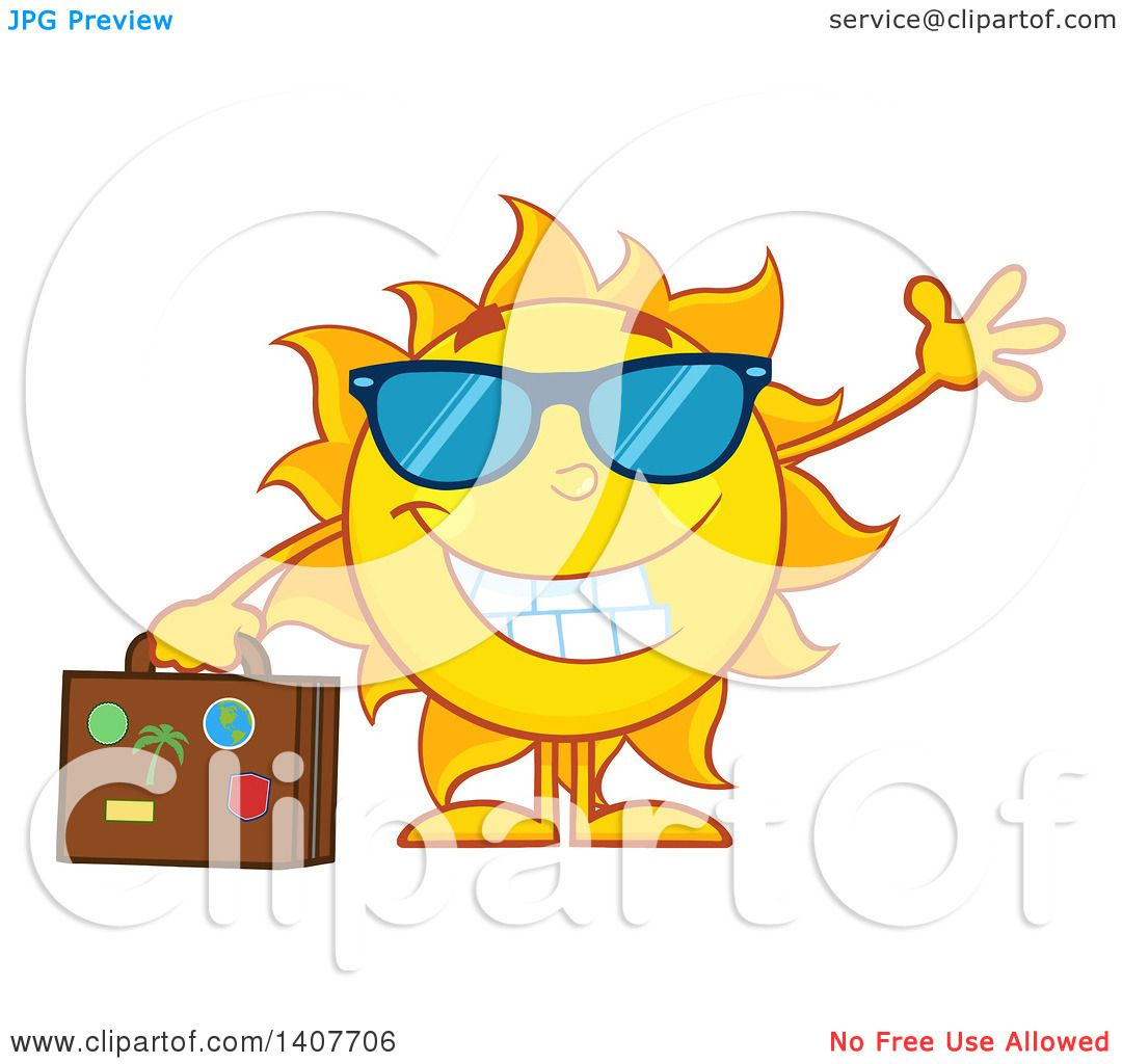 1080x1024 Clipart Of A Yellow Summer Time Sun Character Mascot Waving