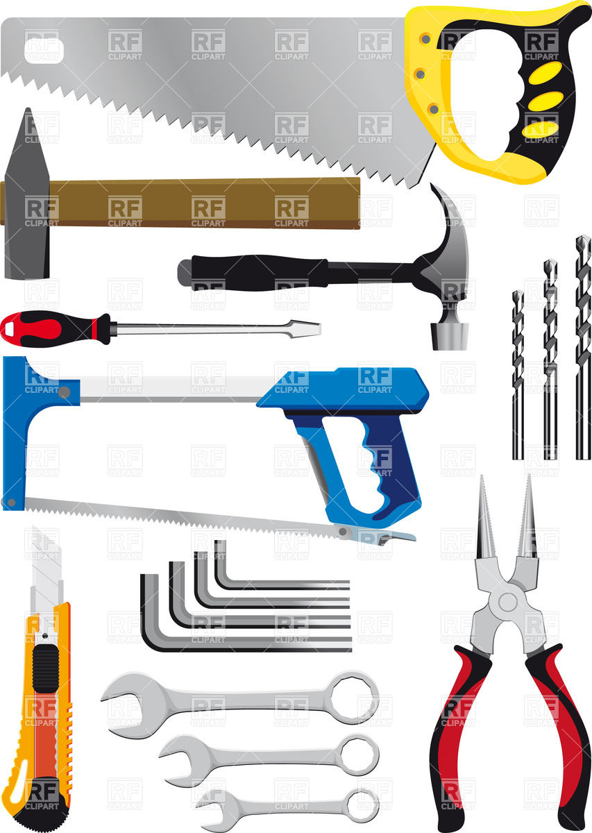 853x1200 Set Of Hand Tools Isolated On White Royalty Free Vector Clip Art