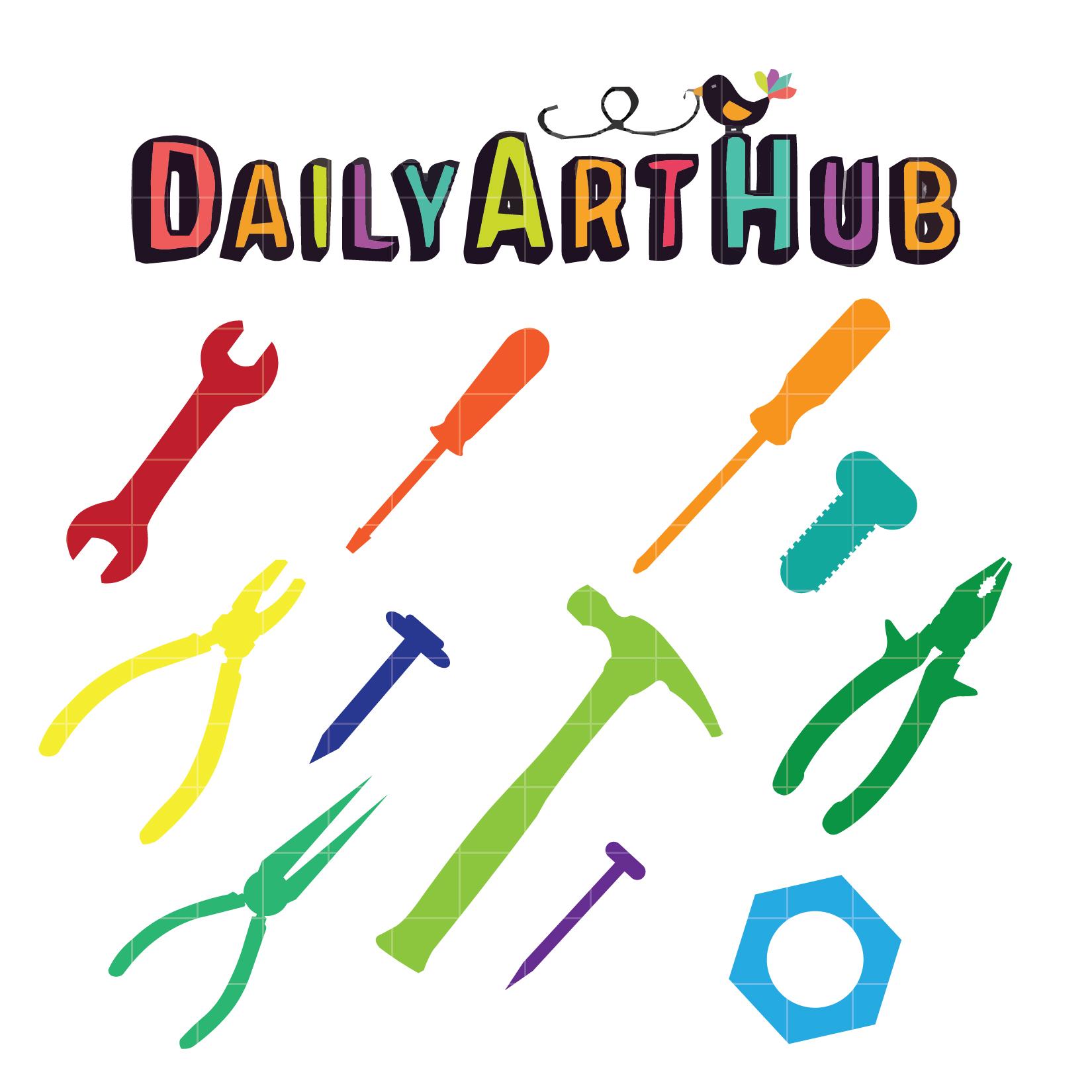 1650x1650 Colorful Tools Clip Art Set Daily Art Hub Free Clip Art Everyday