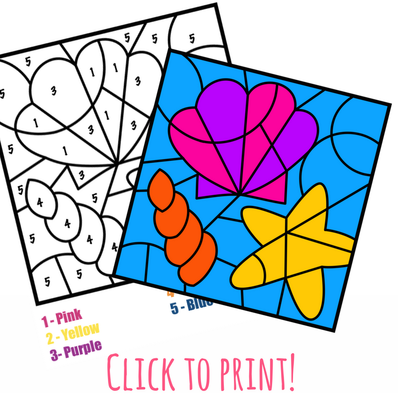 800x800 Free Color By Number Beach Printable