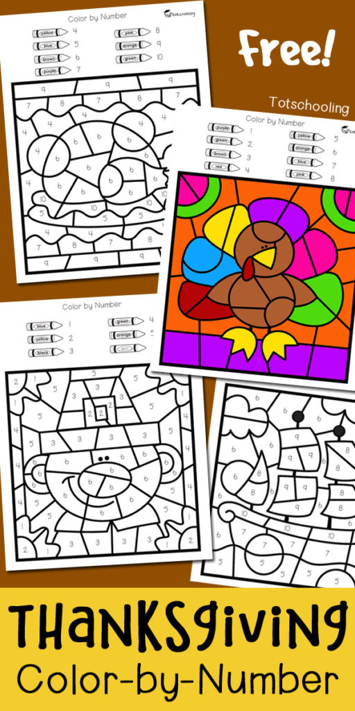 512x1024 Free Thanksgiving Color By Number Printables