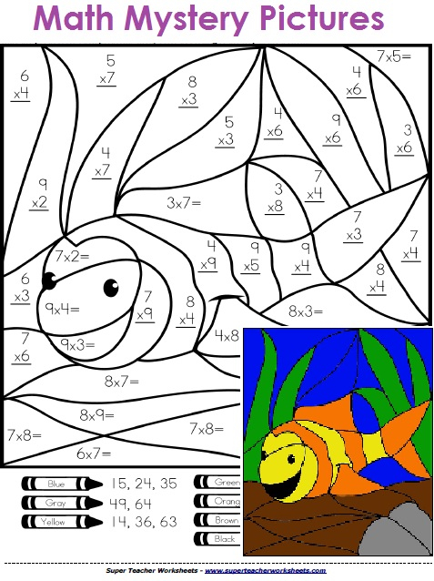 477x638 Multiplication Color By Number Free Printable Coloring Pages Fun