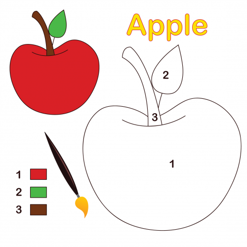 500x500 Apple Color By Number Coloring Page