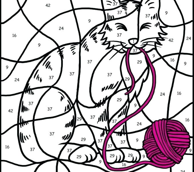 678x600 Cat Color By Number Printable Great For Free Coloring Book