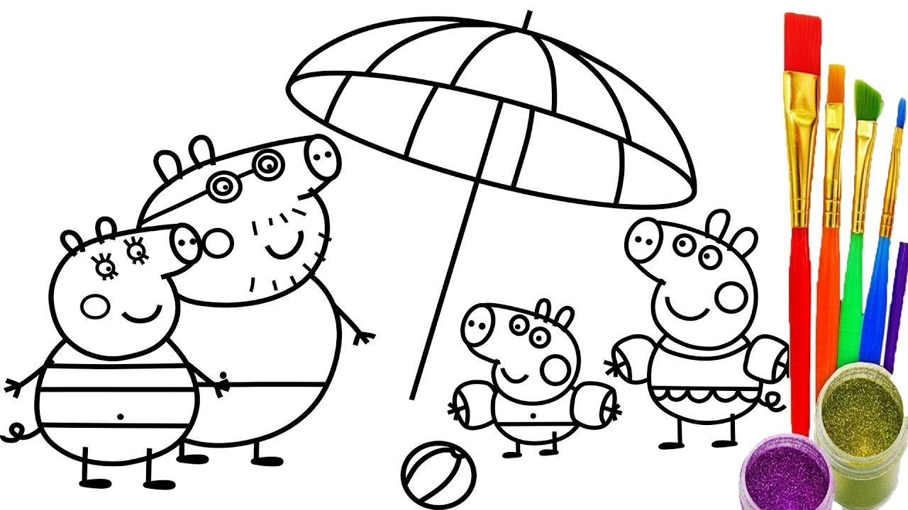 1280x720 Elegant How To Draw Peppa Pig Family Coloring Pages Free