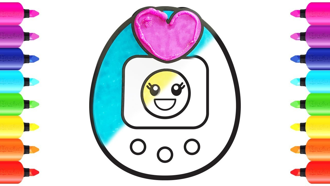 1280x720 How To Draw Tamagotchi Ps Coloring Book For Children With Glitter