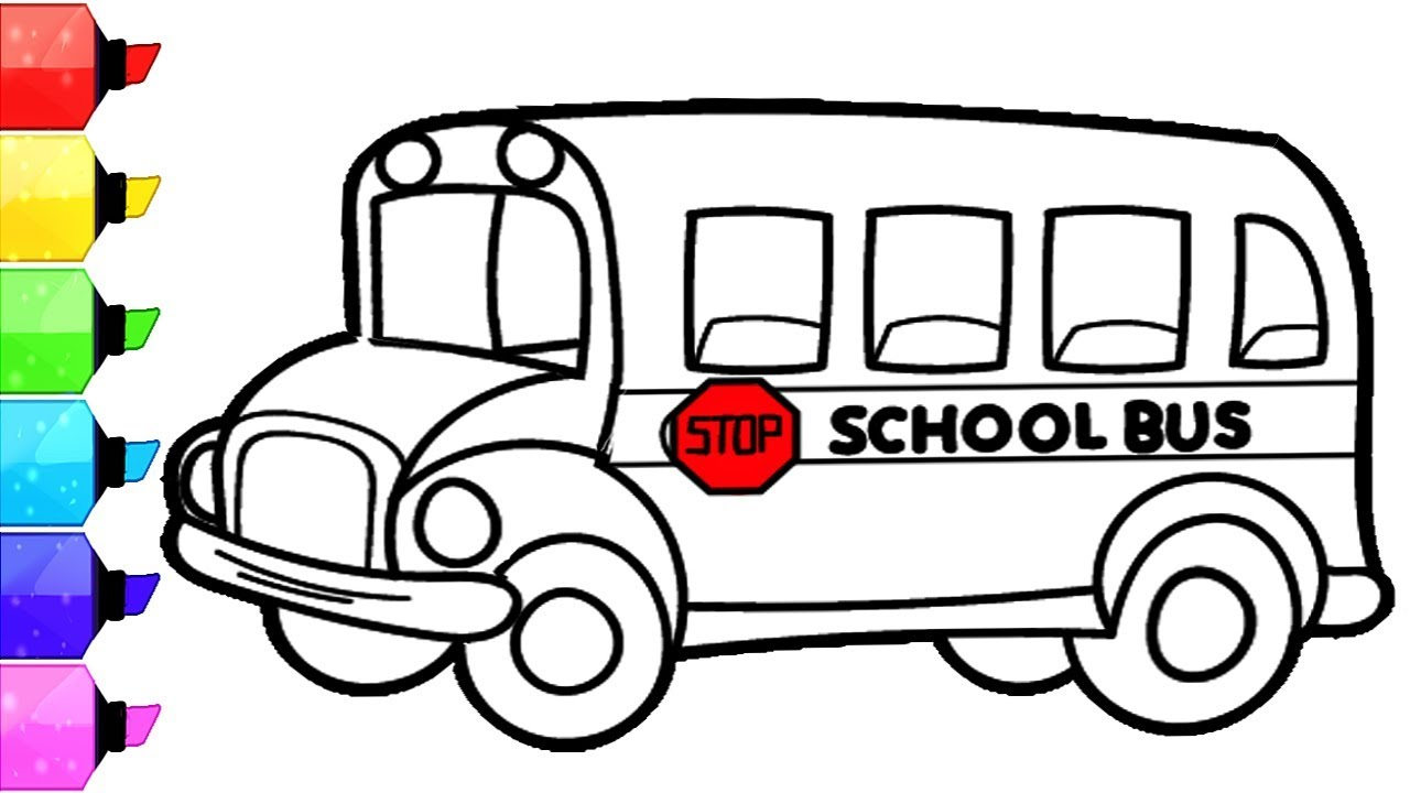1280x720 Inspiring School Bus Color Page Free Printable Coloring Pages