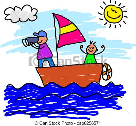 450x416 Sailing Trip. Father And Son On A Sailing Voyage Together