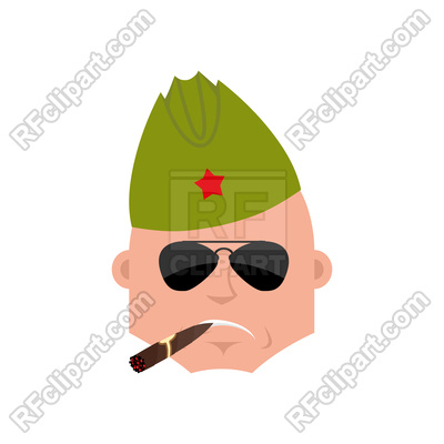 400x400 Soviet Soldier Cool Serious Emotion Royalty Free Vector Clip Art