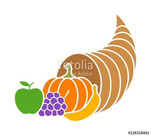 500x450 Cornucopia Horn Of Plenty Or Thanksgiving Basket Flat Color Icon