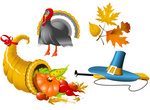 150x110 Thanksgiving Banners With Cornucopia And Pilgrim Hat Royalty Free