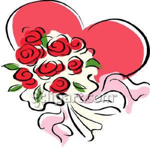 300x296 Clip Art Of Red Roses Bouquet Clipart