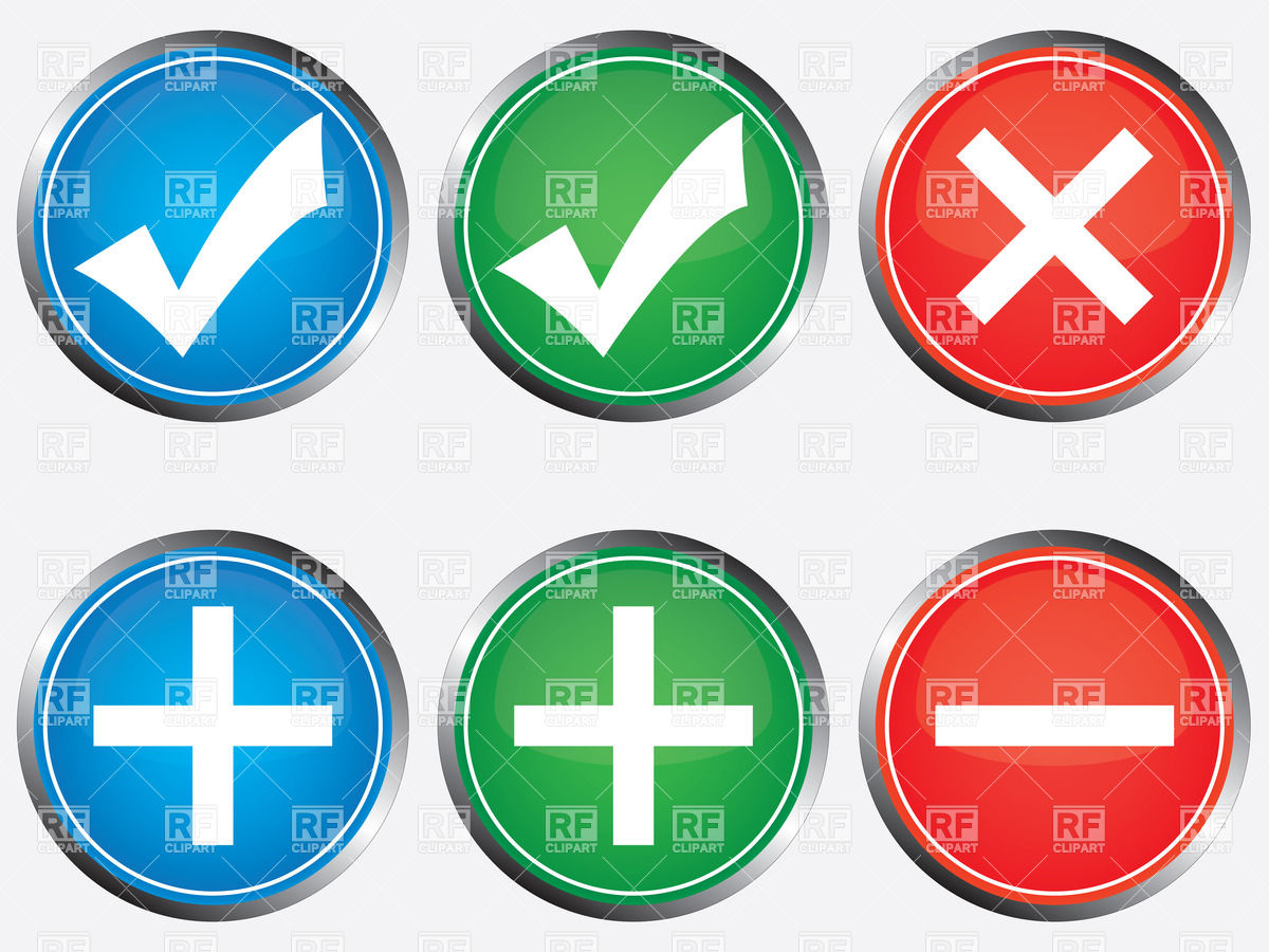 1200x900 Positive And Negative Buttons With Tick, Cross, Plus And Minus