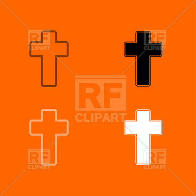 400x400 Church Cross Set Icon On Orange Background Royalty Free Vector