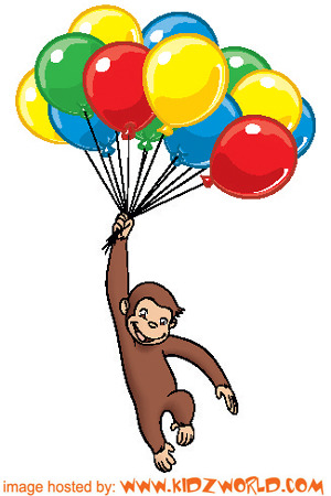300x450 Collection Of Curious George With Balloons Clipart High