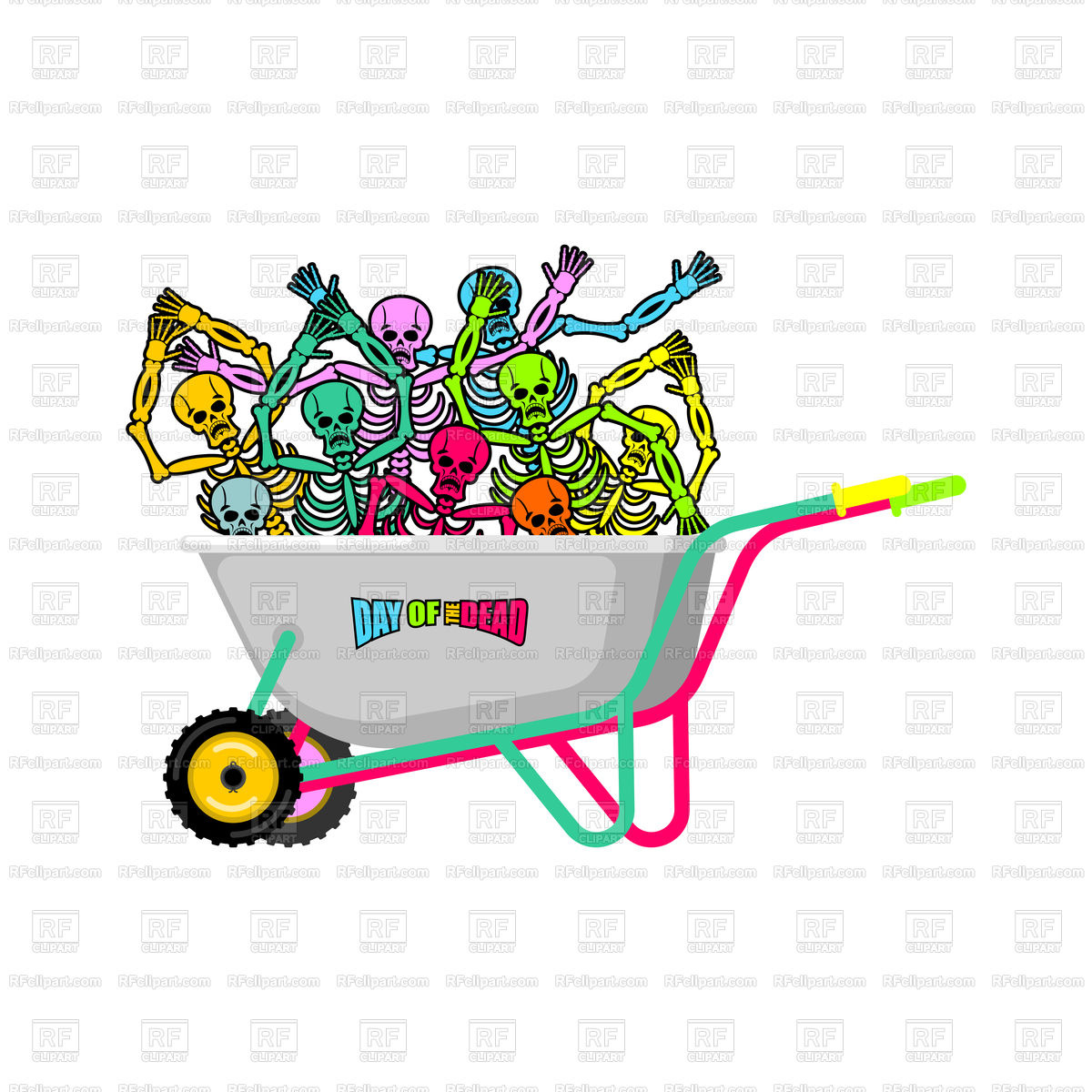 1200x1200 Day Of The Dead. Wheelbarrow And Skeletons. Royalty Free Vector