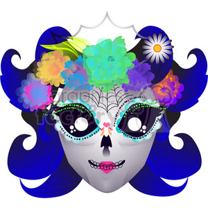 300x300 Royalty Free Day Of The Dead Lady Skull Character Illustration