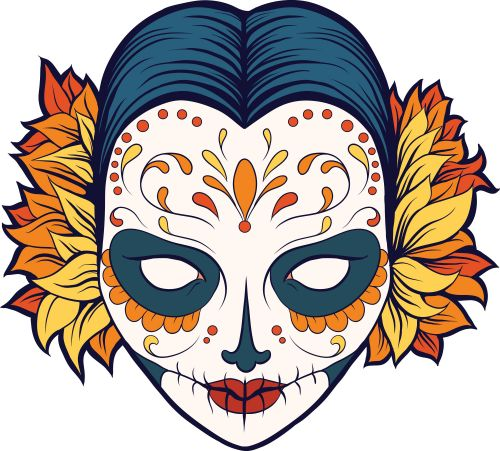 500x451 59 Best Free Sugar Skull Coloring Pages Images