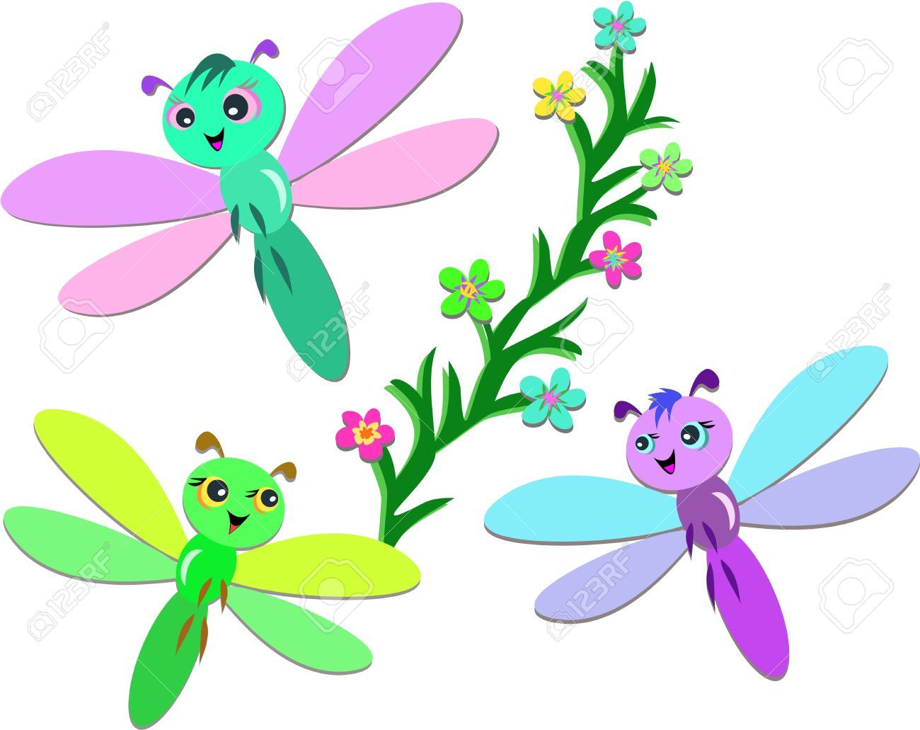 1300x1031 Trio Of Cute Dragonflies Royalty Free Cliparts, Vectors, And Stock