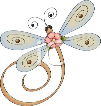 333x350 Whimsical Dragonfly With A Flower