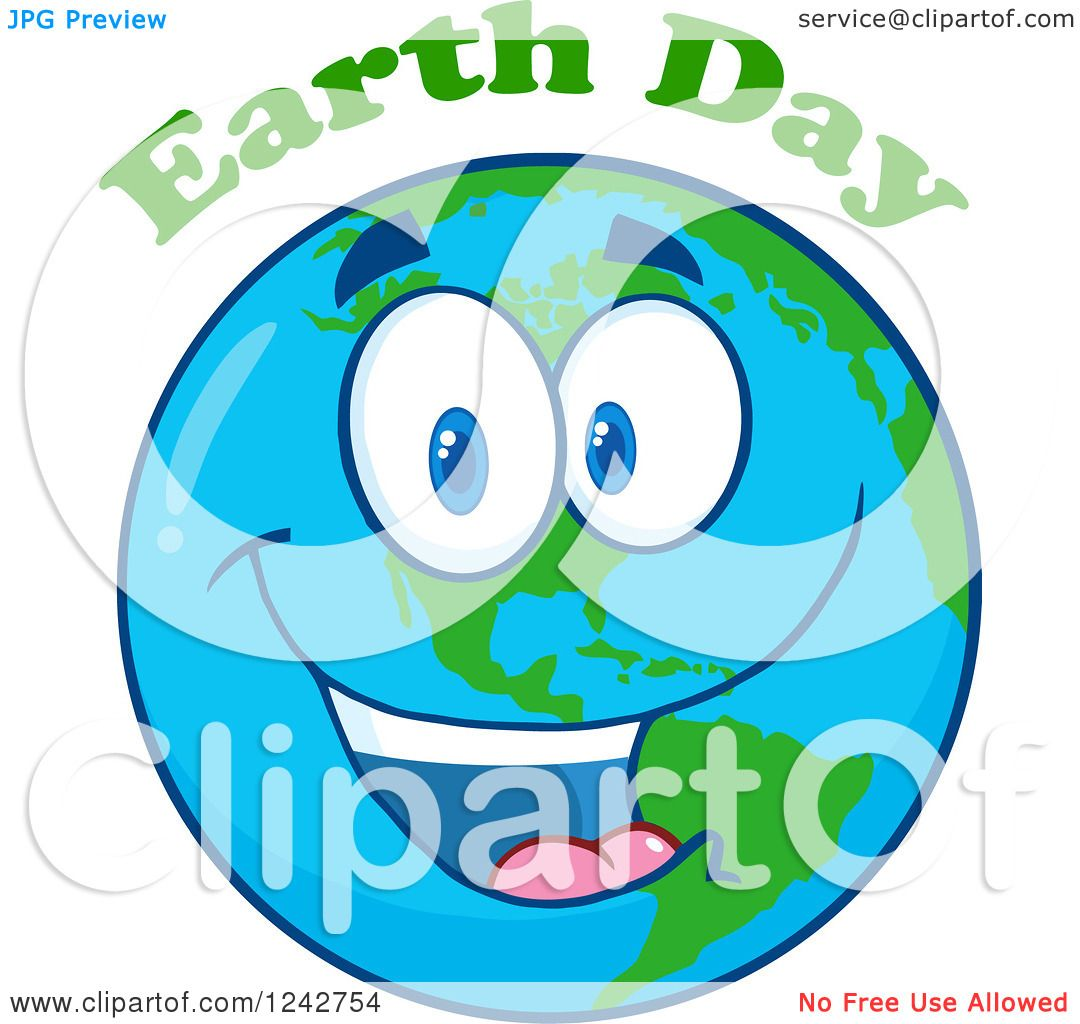 1080x1024 Clipart Of A Happy Smiling Earth Day Globe Character With Text